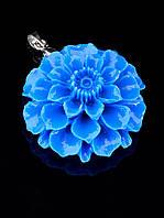 Кулон голубой цветок полимерная глина (006625)