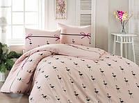 Постельное белье Eponj Home ранфорс Flamingo пудра евро размер