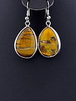 27х20х5 мм. Серьги с натуральным камнем Тигровый глаз капельки форма: капля украшение №022633