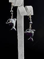 30х25 мм. Серьги с натуральным камнем Гематит в виде дельфинов украшение №017931