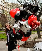Огненная черно-красная композиция из шаров.