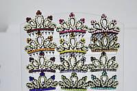 Диадема,черная, цветные стразы, корона (12 шт)