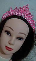 "Диадема корона канзаши на ободке ""Праздник"", розово-белая с серебристым"