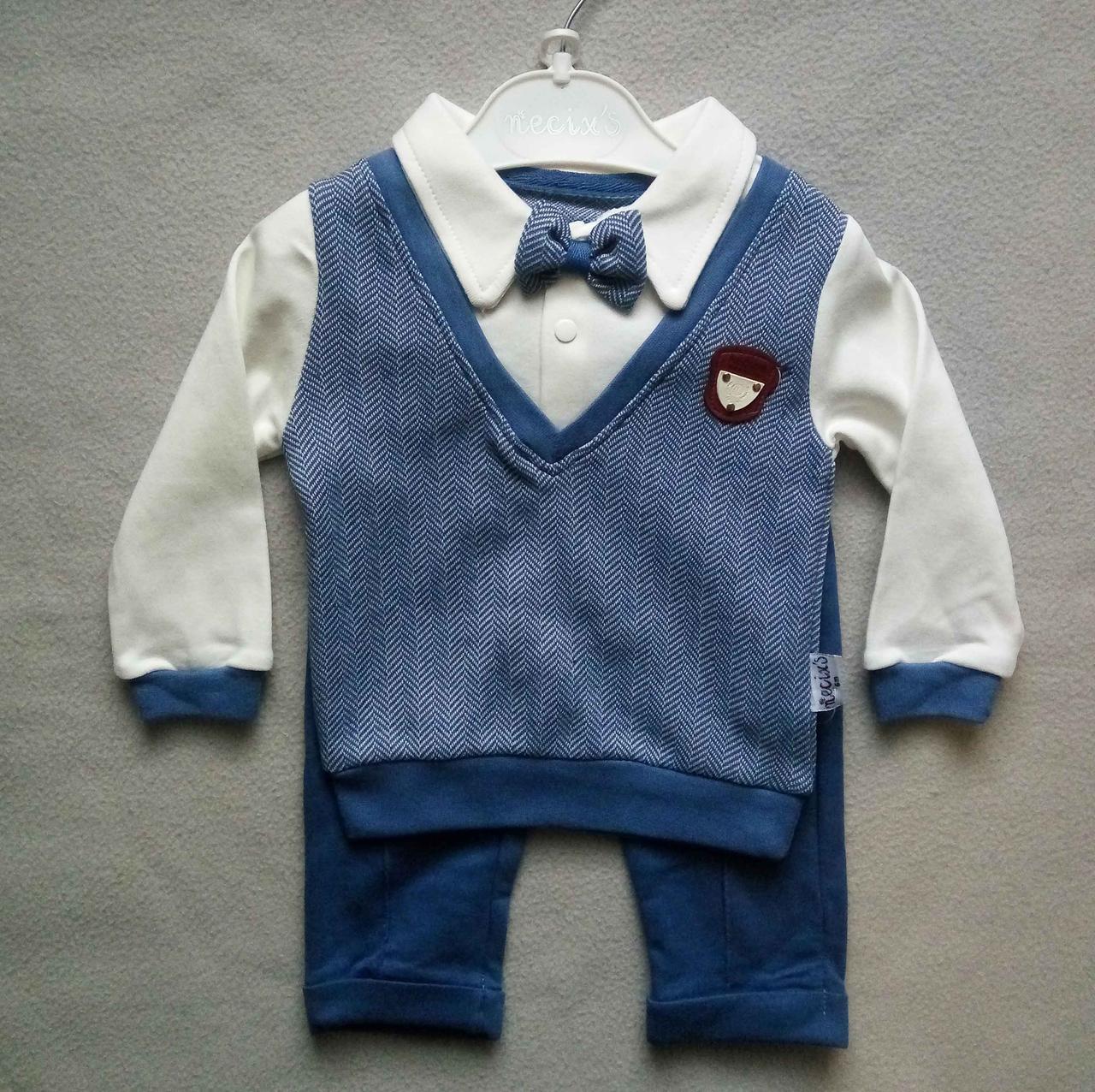 Нарядный детский костюм с бабочкой для новорожденных на мальчиков 6-12 мес Турция оптом