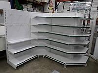 Стеллаж металлический пристенный, перфорация, углы бу, металлический стеллаж б/у, фото 1