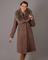 Женское зимнее пальто классика с меховым воротником, фото 1
