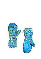 """Варежки рукавицы зимние """"Art blue"""" на змейке, непромокаемые"""