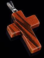 Крестик коричневый из искусственного камня авантюрин 40х30хмм, форма крестик, код 025899, 9,9 г