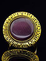Кольцо с кошачьим глазом. Кольцо с камнем Кошачий глаз имитация, под золото 016820-999, коричневый, металл под золото