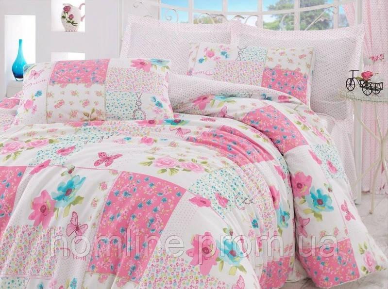 Постельное белье Eponj Home ранфорс Marlen розовое евро размер