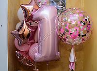 Композиция из шаров + цифра + шар-гигант с конфетти.