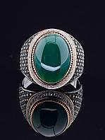 Перстень с хризопразом, вокруг циркон (серебро/золото) 029401 21 р.