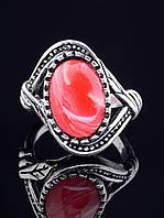 Кольцо с сардониксом. 029373 Кольцо 17 размера с натуральным камнем Сардоникс, текстура может отличаться, овальная форма