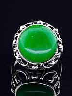 Кольцо с хризопразом. 029371 Кольцо 18 размера с натуральным камнем Хризопраз, круглая форма 16х16 мм