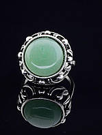 Кольцо нефрит (с нефритом). 029385 Кольцо 19 размера с натуральным камнем Нефрит, круглый, 16х16 мм, классика