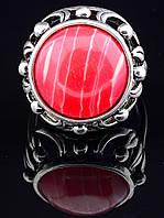 Кольцо с сардониксом. 029383 Кольцо 17 размера с натуральным камнем Сардоникс, круглый камень, текстура Сардоникса может отличаться