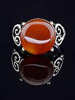 Кольцо с сердоликом. 029416 Кольцо 18 размера с натуральным камнем Сердолик (покрытие серебро), круглая форма, оправа классика 4 лапки