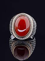 Перстень с овальным камнем сердоликом 21 размера, артикул 029402