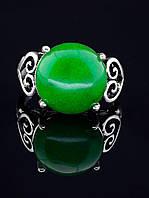 Кольцо с хризопразом. 029424 Кольцо 19 размера с натуральным камнем Хризопраз (покрытие серебро), круглая форма 15х15