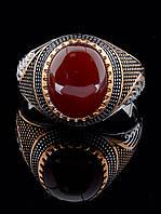 Женский перстень с сердоликом камнем 15х12 мм, 20 размер (и другие) 029396 (серебро/золото)