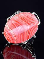 Кольцо с сардониксом. 029411 Кольцо 17 размера с натуральным камнем Сардоникс (покрытие серебро), овальная форма камня, светло-розовый