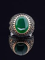 029405 19 р Кольцо-перстень женский с хризопразом (серебро/золото)
