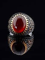 Перстень с сердоликом овальным 15х11 мм в серебре и позолоте 19 размер (есть 20, 21) 029404