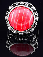 Кольцо с сардониксом. 029383 Кольцо 18 размера с натуральным камнем Сардоникс, круглая форма 16х16 мм