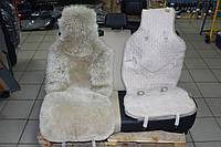 Меховая накидка Корона Мех на сиденье универсальная бежевая (1шт)
