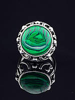 Кольцо с малахитом. 029438 Кольцо 19 размера с натуральным камнем Малахит (покрытие серебро), круглая форма 16х16 мм, зеленый
