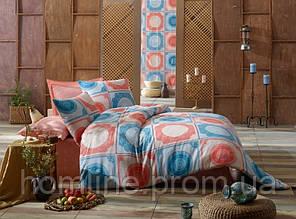 Постільна білизна Eponj Home ранфорс Ornament ментолове євро розмір