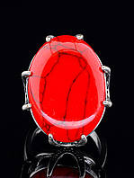 Кольцо с кораллом. 029446 Кольцо 17 размера с Кораллом (имитация Коралла в покрытии серебро), цвет красный, 25х20 вставка