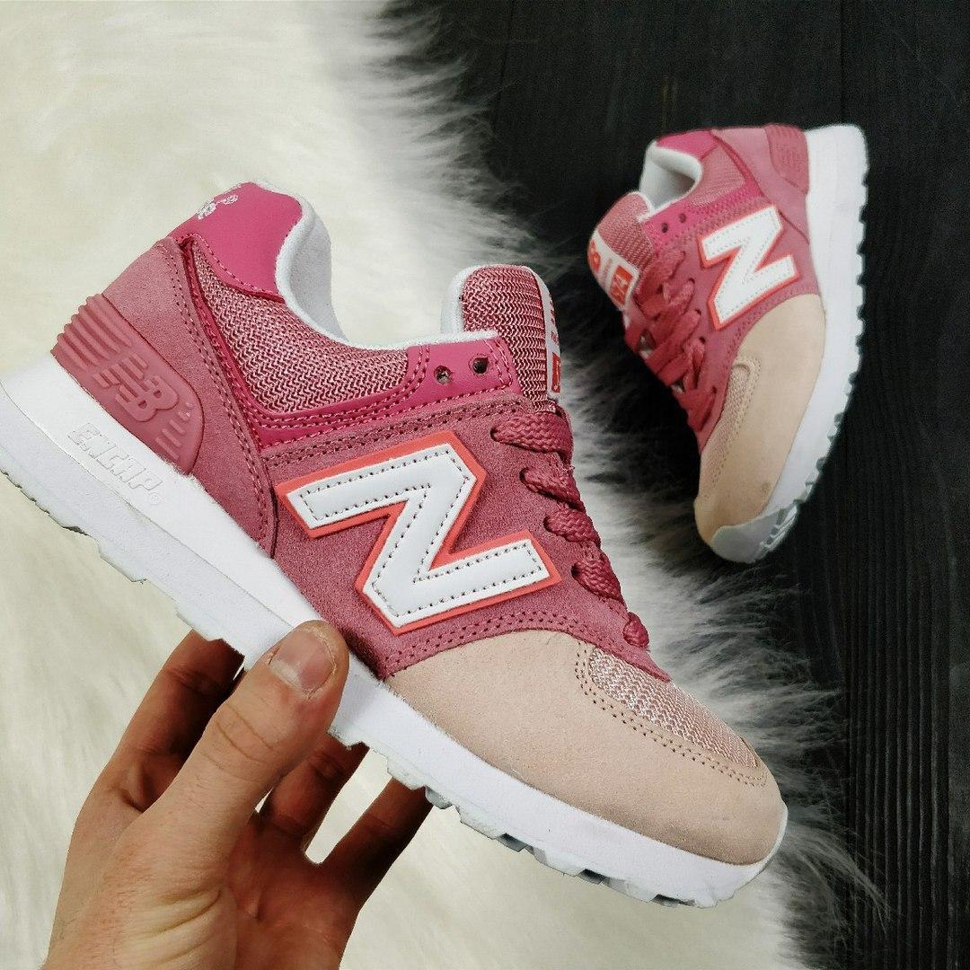 Женские кроссовки New Balance 574 розовые пудра 2362 - Компания