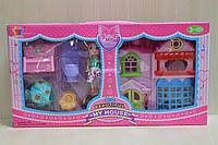 Домик с мебелью для кукол и животные в коробке 38*20*6 см