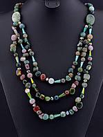 030061 Бусы из яшмы, бусы из натурального камня яшма 62 см. многорядные