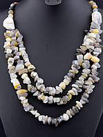 030203 Бусы из агата, бусы из натурального камня агат 58 см. многорядные