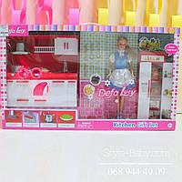 Набор Кукла DEFA и кухня, посуда, свет, 2 вида, в кор-ке, 60-35-9,5см