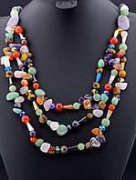 030070 Бусы из самоцветов, бусы из натуральных камней 62 см. многорядные
