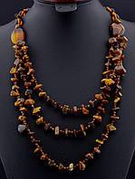030175 Бусы из сердолика, бусы из натурального камня сердолик 76 см. многорядные