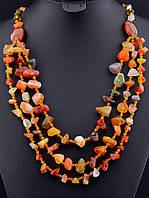 030172 Бусы из сердолика, бусы из натурального камня сердолик 76 см. многорядные