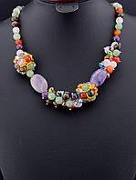 030112 Бусы из самоцветов, бусы из натуральных камней 50 см. пышные