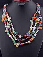 030060 Бусы из самоцветов, бусы из натуральных камней 62 см. многорядные