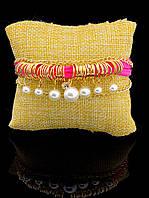 Нежный текстильный браслет на руку, женский, майорка, малиновый  'FJ' 030916