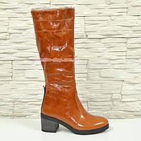 Сапоги женские кожаные рыжие демисезонные на устойчивом каблуке, фото 1