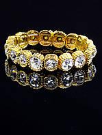 Браслет с крупными белыми стразами под золото Сrystal 'FJ' украшение №031687