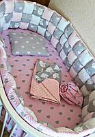 """Набор постельного белья """"Бисквитная мягкость"""" дизайнерский 6-в-1, розовый с сердечками и совами"""