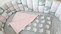 """Набор постельного белья дизайнерский: """"Бисквитная мягкость"""" 6-в-1, розовый в полоску с совами"""