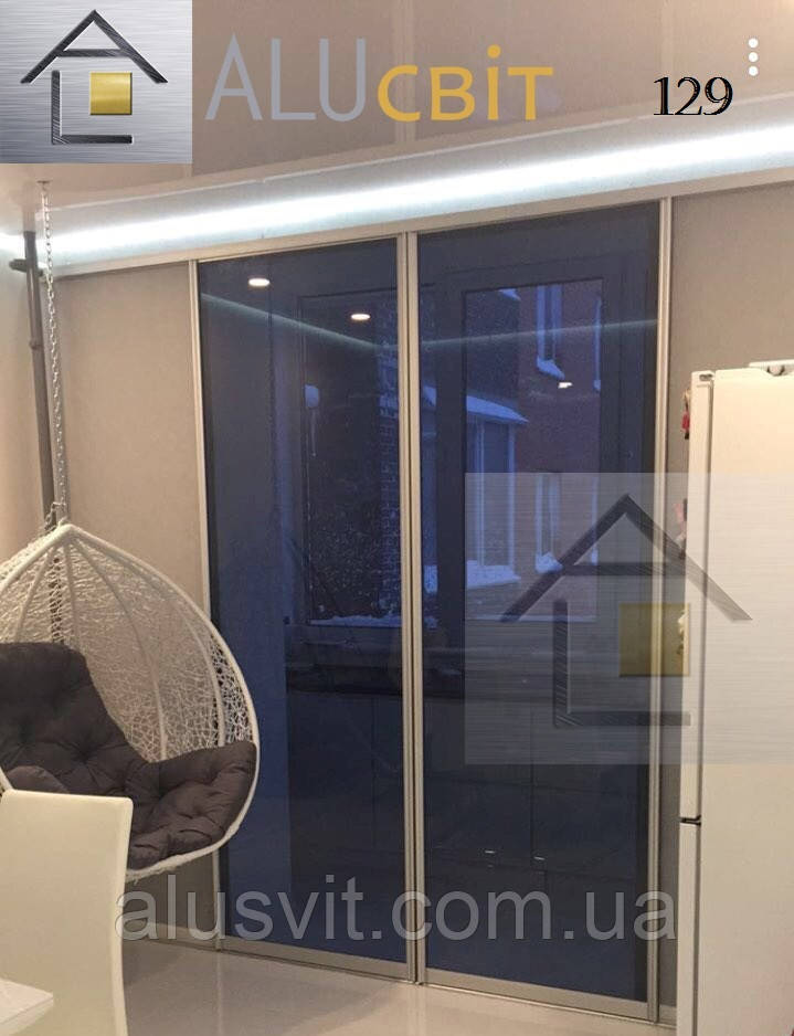 Двери* (перегородки) купе - стекло графит на балконы, лоджии, веранды