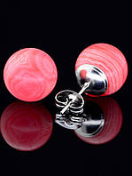 12 мм. Серьги с натуральным камнем Сардоникс гвоздики пуссеты с шариком форма: бусина украшение №034697