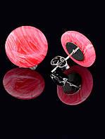 14 мм. Серьги с натуральным камнем Сардоникс гвоздики-пуссеты форма: полусфера украшение №034772